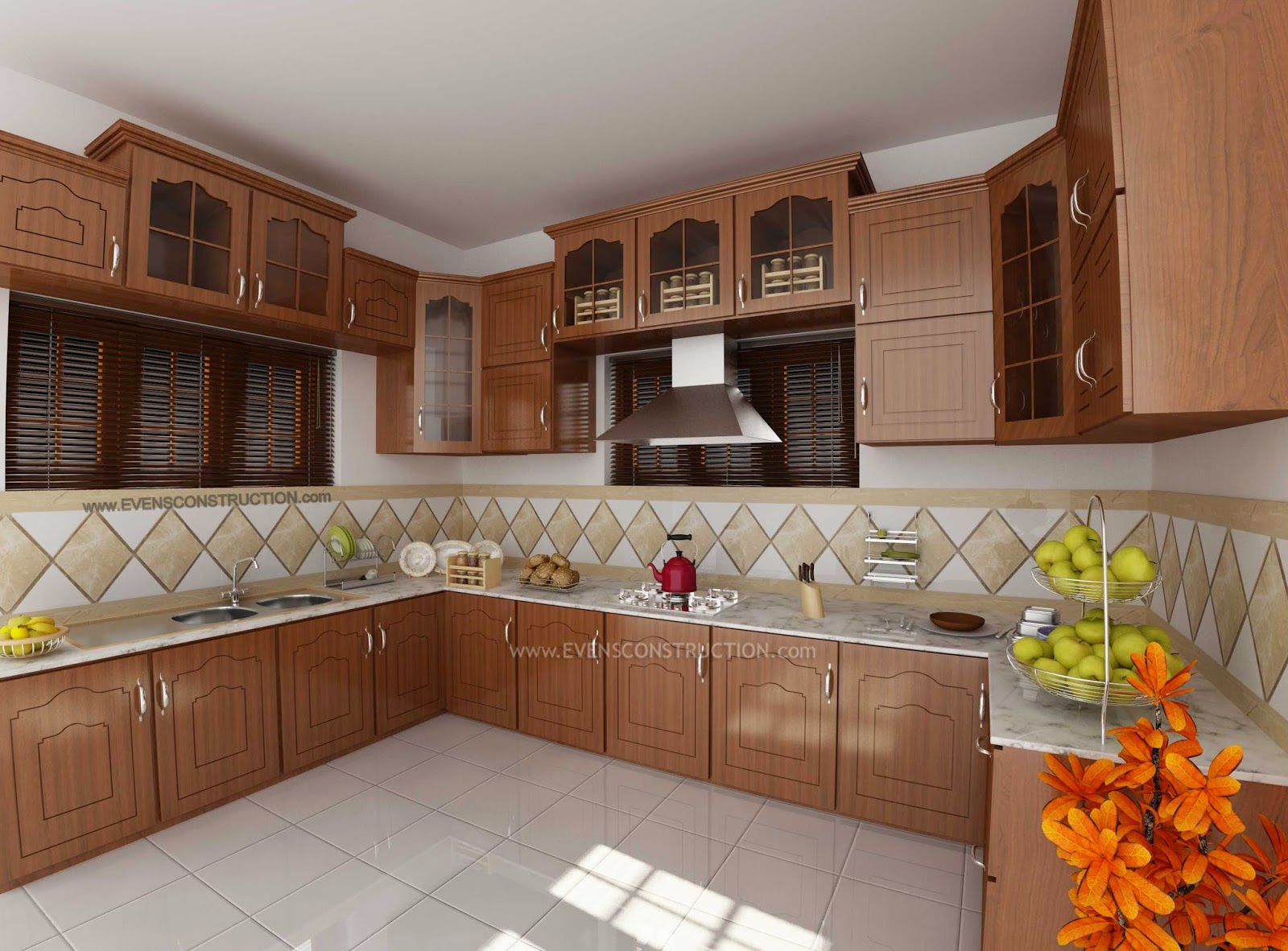 Modern kitchen design home for Kitchen design kerala