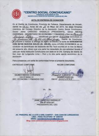 ACTA ENTREGA A MANUELA CARDOSO LOPEZ