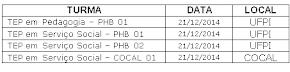Calendário de aulas do dia 21/12/2014.