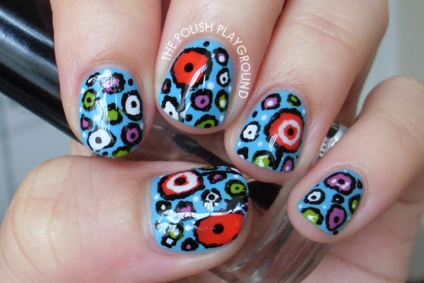 Colorful Flower Print Nail Art