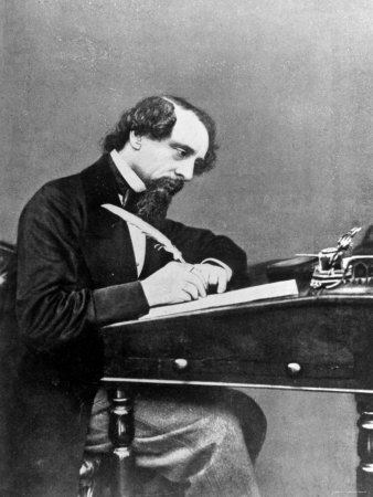 Red? Prolific-english-novelist-charles-dickens-seated-writing-with-a-quill-pen