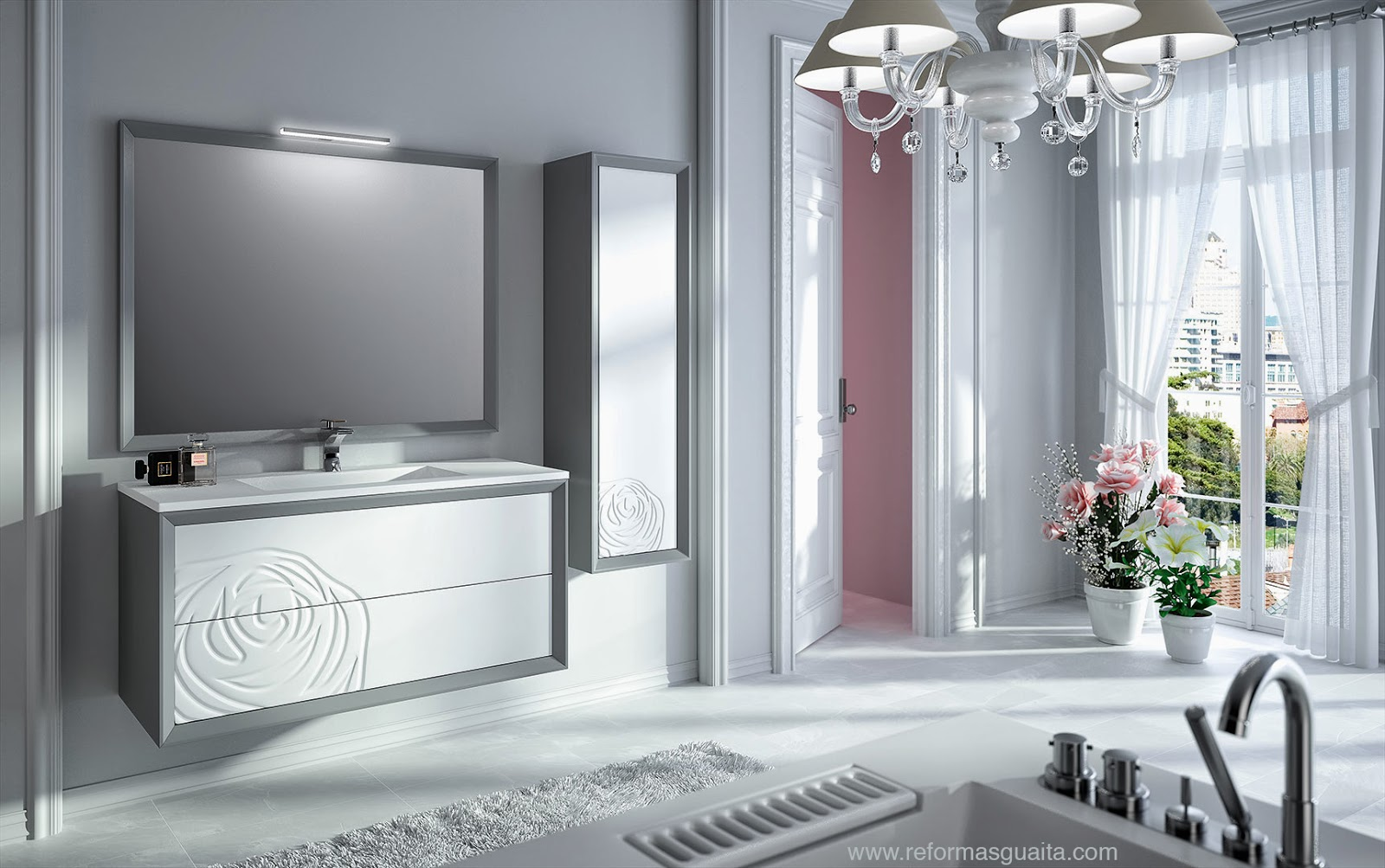 mueble baño blanco gris elegante floral