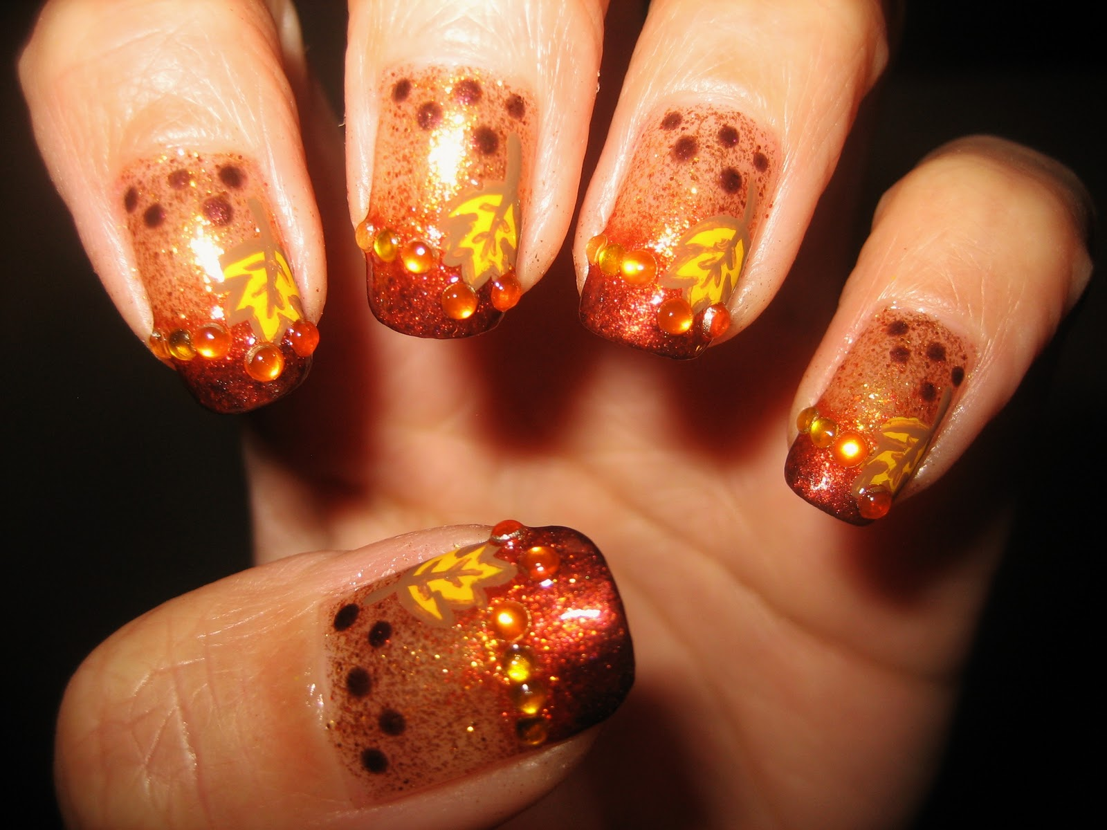 Awesome Nails By Nicole Fall Bling Nail Tutorial