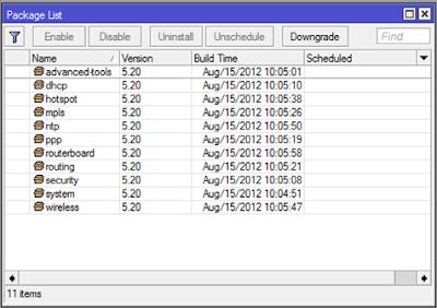 mikrotik - package list