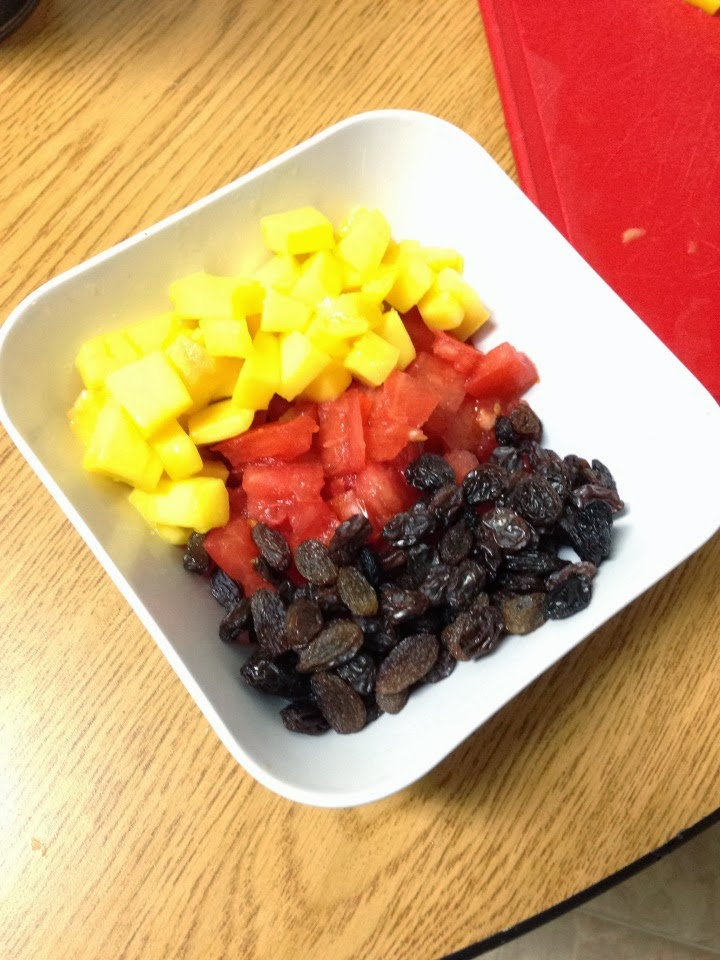 raisins, mango, tomatoes