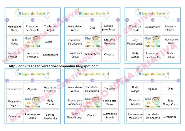 Cartelas pra Bingo de Chá de Bebê