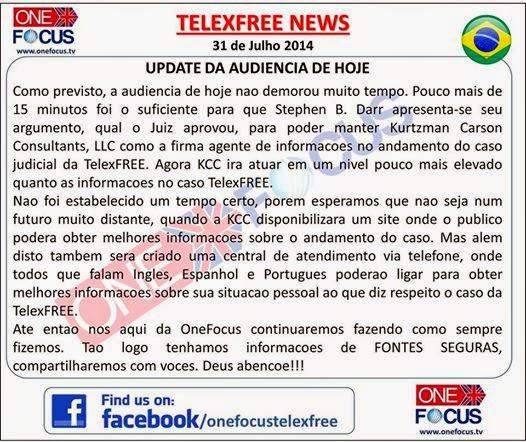 Telexfree: Noticias sobre a Audiencia de 31 de Julho