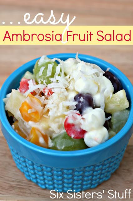 Easy Ambrosia Fruit Salad @ Six Sisters Stuff