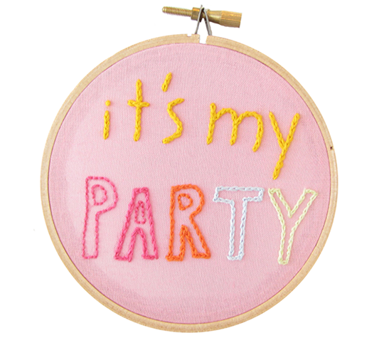 It's My Party Embroidery Hoop from  Athena & Eugenia