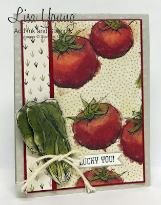 Stampin' Up! card made with Farmer's Market designer series paper printed with Tomatoes and Lettuce. Handmade card by Lisa Young, Add Ink and Stamp