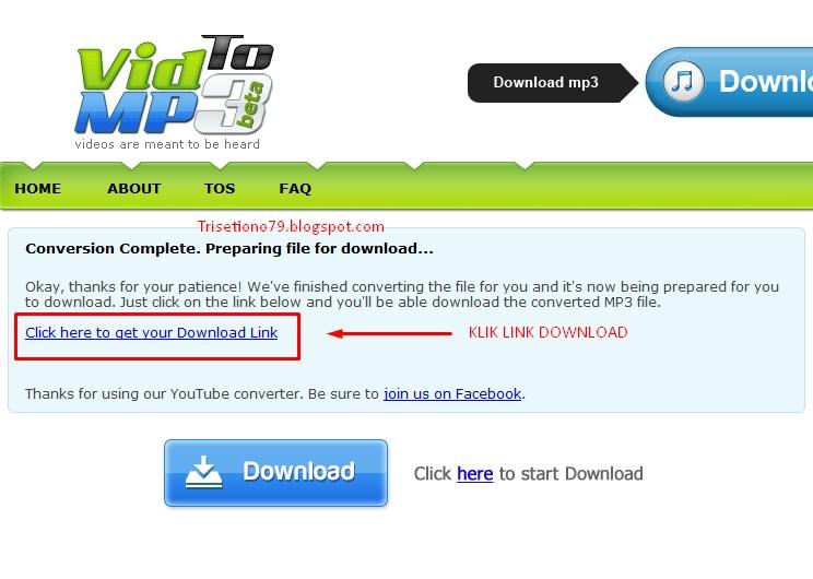 ... get your download link berwarna biru kemudian klik tombol download mp3