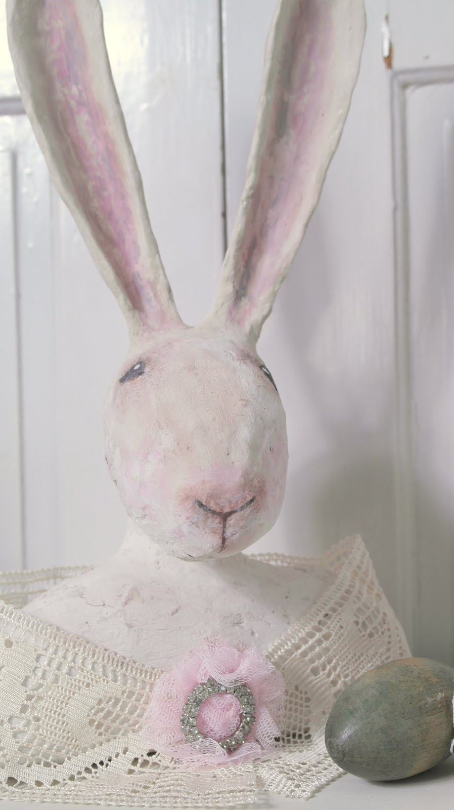 Vintage Shabby chic Pappmaché Hase/ Osterhase