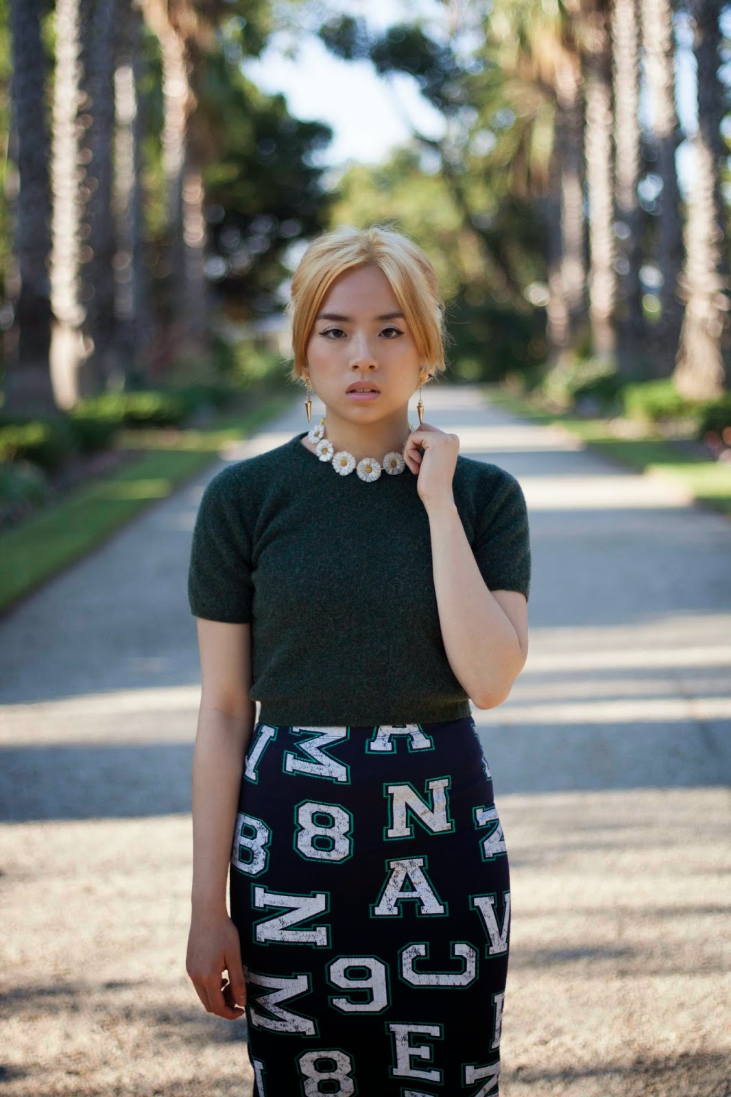 Jenny modelling long skirt and crop top