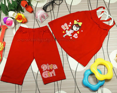 Bộ Diva Girl màu đỏ - babystyle.com.vn