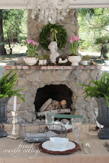 Outdoor spring mantel french country cottage for French country fireplace ideas