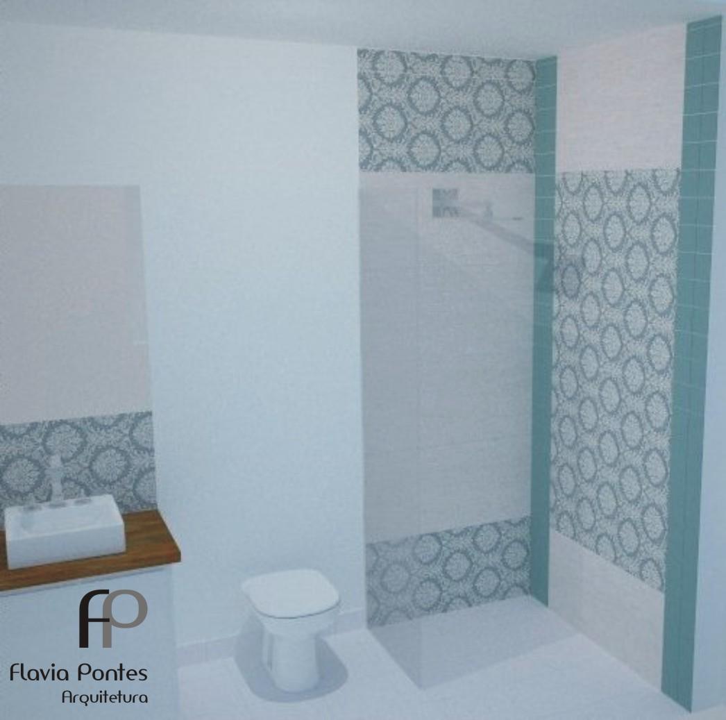 Postado por Flavia Pontes Arquitetura às 18:03 #5E4730 1046x1037 Banheiro Com Ladrilho Azul