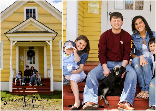 cute family at an old school house