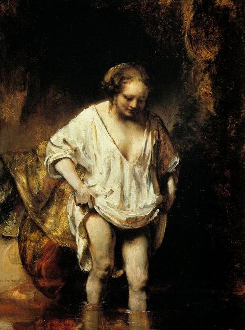 Femme se baignant dans une rivière de Rembrandt, 1654