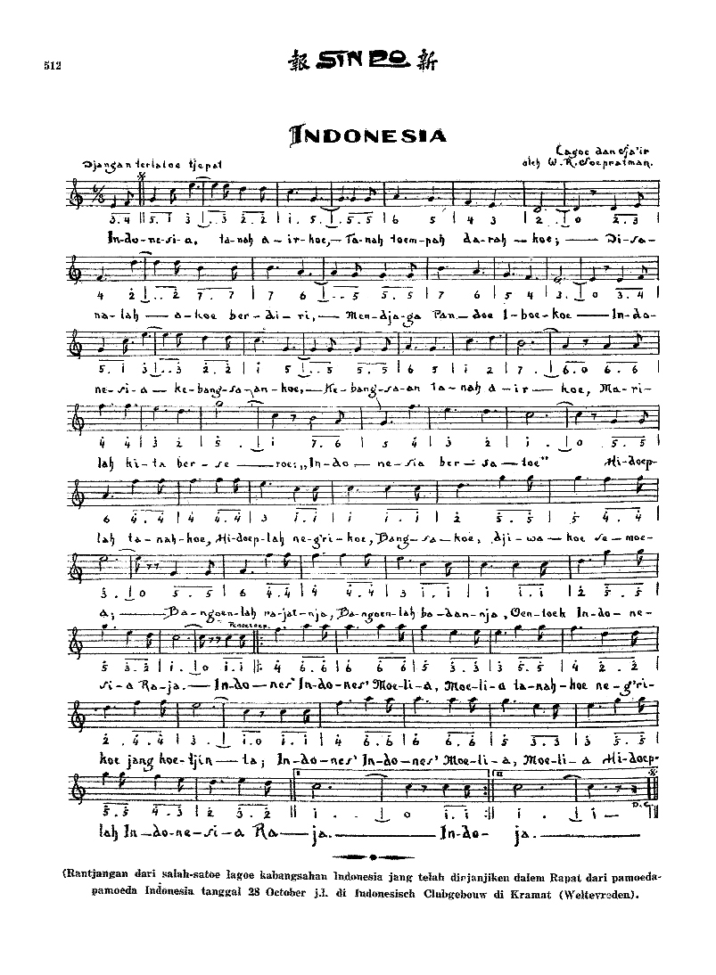 wage rudolf soepratman judul indonesia raya lirik indonesia raya 1928