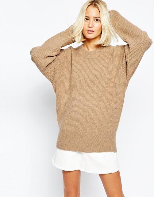 weekday oversize jumper, weekday knit jumper, camel knit jumper,