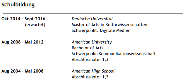 Education on a German resume