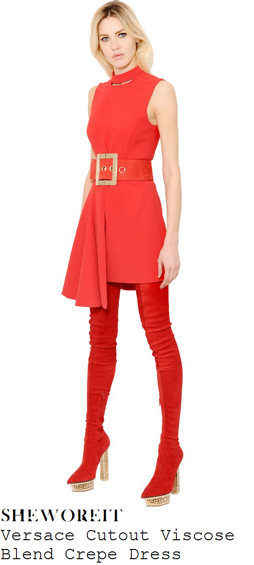 rita-ora-red-sleeveless-buckle-detail-asymmetric-dress-x-factor-auditions