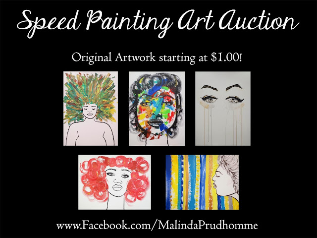 malinda prudhomme, art auction, toronto art auction, art at $1, original artwork auction, lady autumn, sweet cheeks, tears, sangria, dreamer, acrylic painting, speed painting, art videos