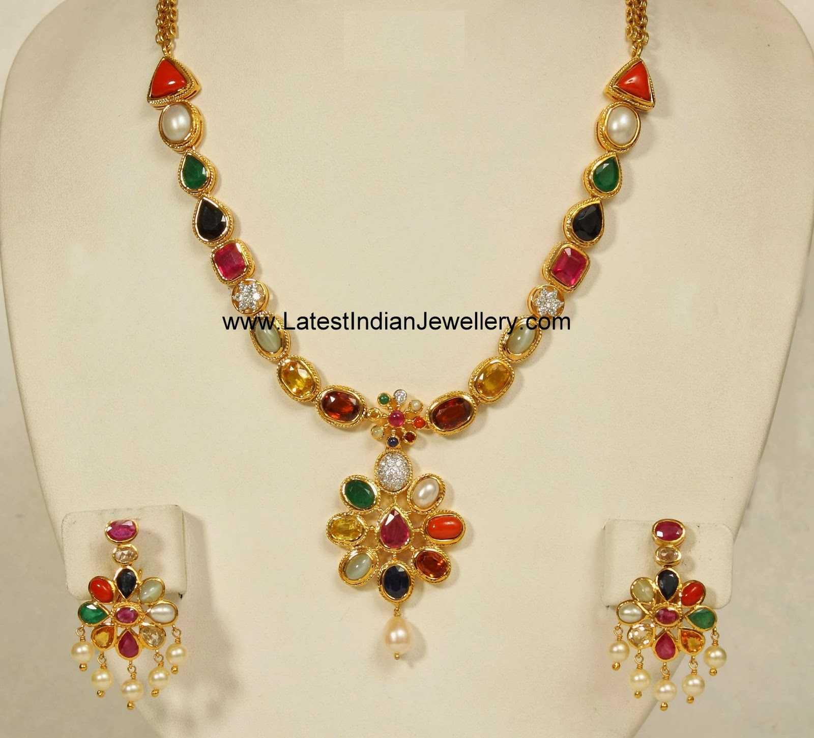 Designer Navartna Necklace Set