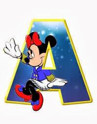 Alfabeto de personajes Disney con letras grandes A pequeña Minnie.