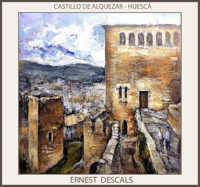 ALQUEZAR-PINTURAS-HUESCA-CASTILLO-PAISAJES-PINTURA-ESPAÑA-CUADROS-PINTOR-ERNEST DESCALS--