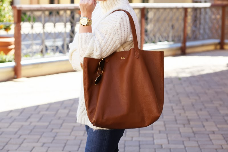 cuyana-brown-leather-monogrammed-tote-king-and-kind-style-blog-san-diego-amber-king-michael-kors-gold-watch-oversized-white-sweater