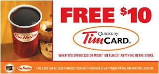 Free $10 Tim Hortons Card