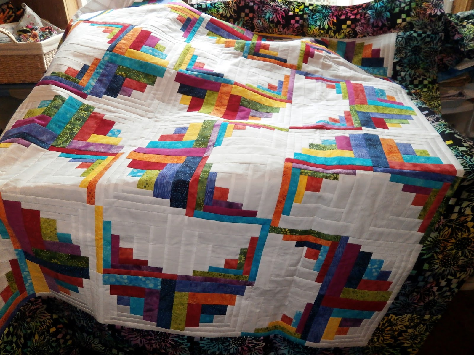 Here Are The Details For The Rainbow Swirls Quilt Top And Another Look At  The Finished Top In What Light I Did Have Yesterday.