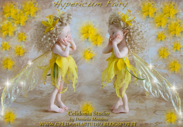 Hypericum Fairy - La Fatina dell'Iperico - OOAK Art Doll by Celidonia - Daniela Messina