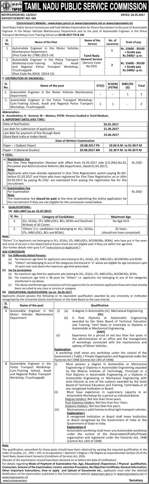Of vacancies 3 last date 26 06 2017 date of examination 20 08 2017 tnpsc recruitment 2017 tamil nadu