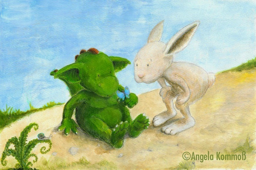 Bilderbuch, Kinderbuchillustration, kleiner Drache,  children's book illustration, bunny, little dragon, animals, Hase, Acryl