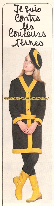 Coat and Hat - navy and yellow - 1966 stripe colorblock color block 60s 1960