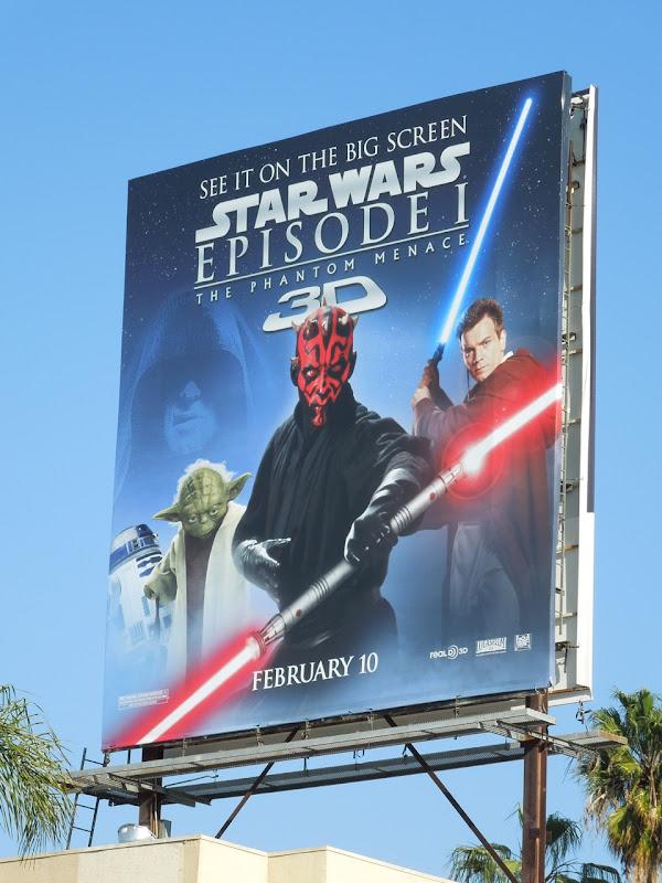 Star Wars Phantom Menace 3D movie billboard