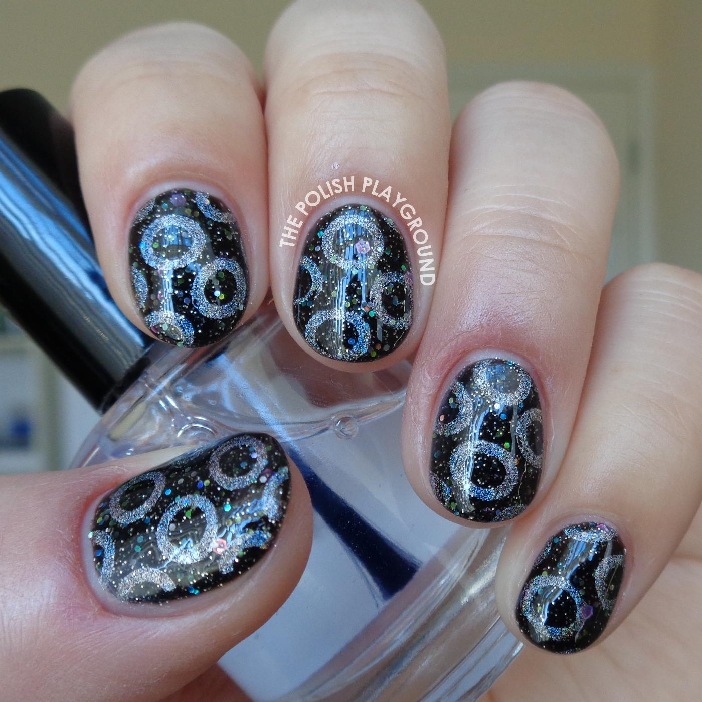 Silver Holographic Circle Stamping Nail Art