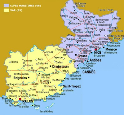 Printable South of France map