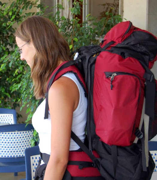 Me with my backpack on a trip in Spain.