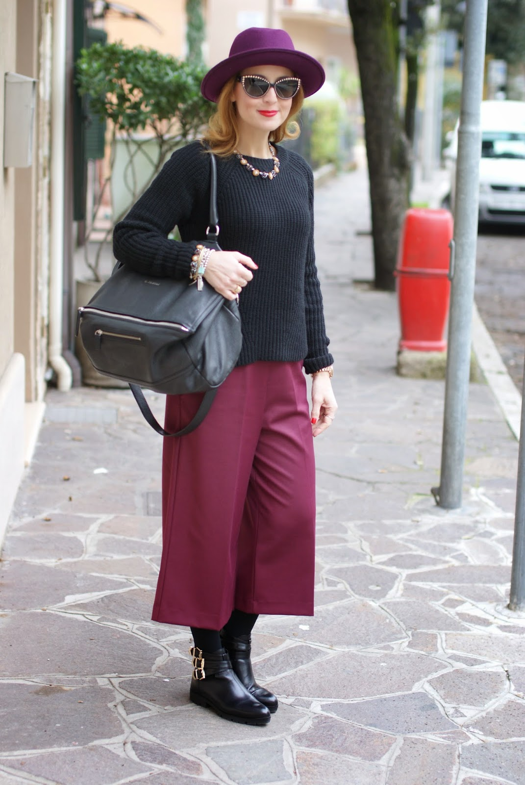 Ribbed knit sweater, Givenchy Pandora bag, culottes pants, Fashion and Cookies, fashion blogger