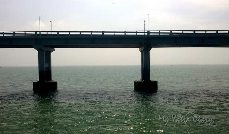 Panbam bridge from the Rameshwaram express