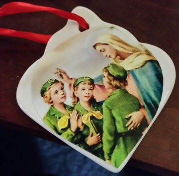 Christmas Ornament for Your Girl Scout Troop | Customized with an image from an old prayer card of the Virgin Mary and Girl Scouts