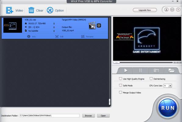WinX Free VOB to MP4 Converter Download