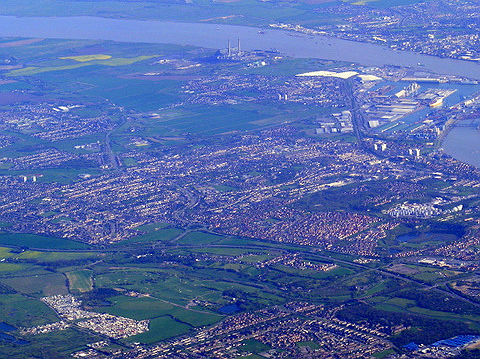 Thurrock (at the bottom) and Tilbury Docks from air.