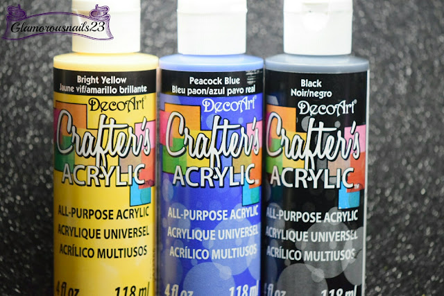 DecoArt Crafter's Acrylic Paint Bright Yellow, DecoArt Crafter's Acrylic Paint Peacock Blue, DecoArt Crafter's Acrylic Paint Black