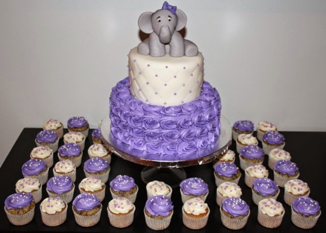 Jacquelines Sweet Shop Elephant Themed Baby Shower Cake And Cupcakes