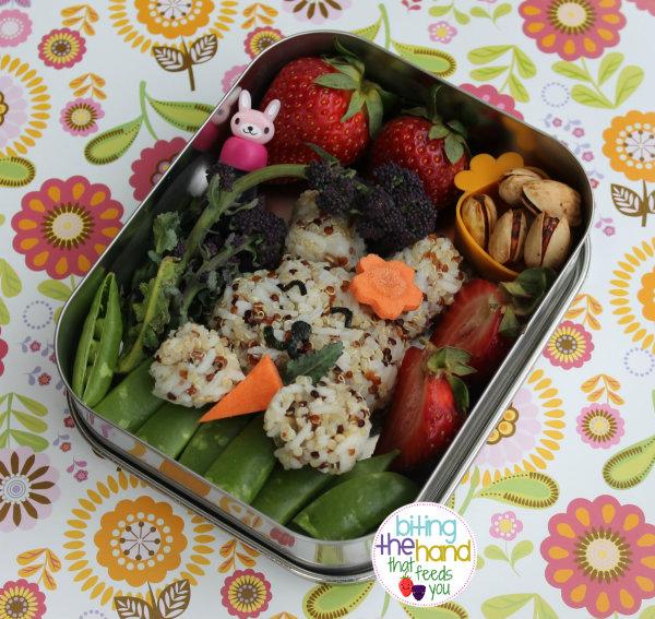 garden bento organic purple broccoli rabbit nigiri