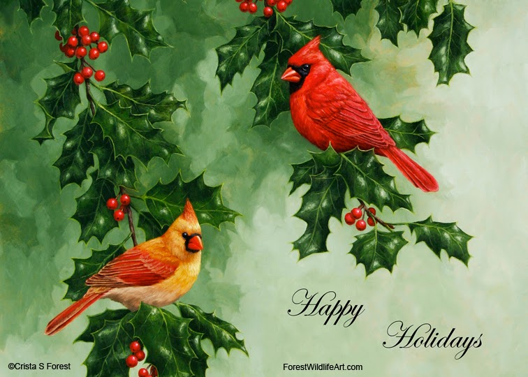 Crista forests animals art holiday greeting coloring page for holiday greeting cards of the cardinals are available here at fine art america its not too late to order faa is pretty fast cards usually arrive just a m4hsunfo